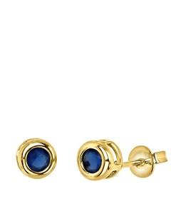 Vergoldete Ohrringe mit blauem Zirkoniastein