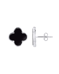 Black Trefle Earrings In 925 Silver