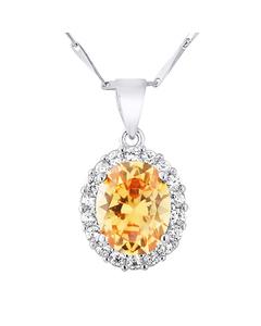 Oval-halsband I Orange Kristall Tag-col-d1567-ora-sw