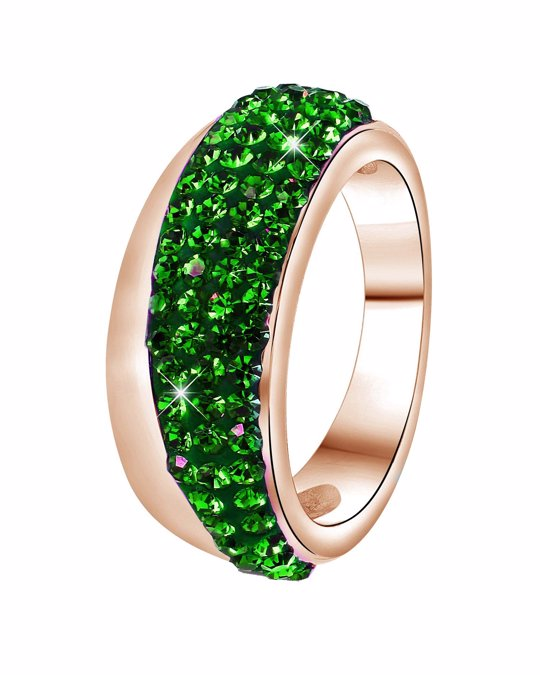 Lucardi Stalen Ring Roseplated Emerald Kristal