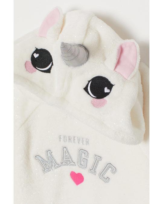 H&M Fleece hooded top White/Unicorn