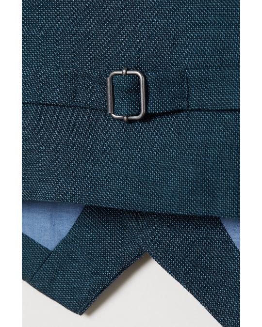 H&M Anzugweste aus Leinenmischung Marineblau