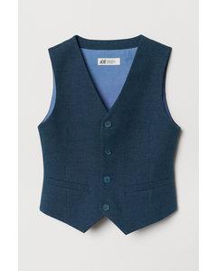Kostymväst I Linmix Marinblå