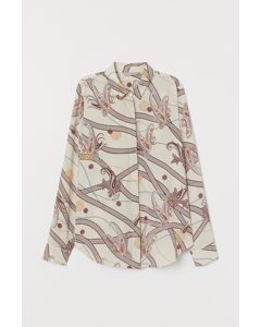 Long-sleeved Blouse Cream/paisley-patterned