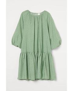Kleid mit Ballonärmeln Grün/Klein geblümt