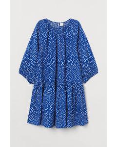Kleid mit Ballonärmeln Knallblau/Weiß gepunktet