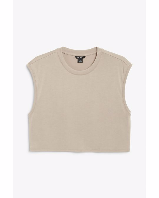 Monki Soft Cropped Tank Top Taupe
