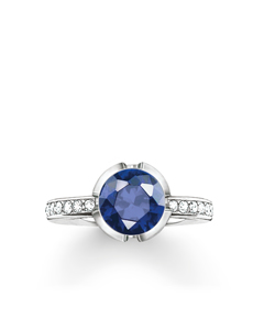Solitaire Ring Signature Line Dark Blue Pavé Small 925 Sterling Silver