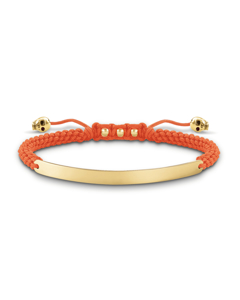 Bracelet Orange Skull Nylon, 925 Sterling Silver, 18k Yellow Gold Plating