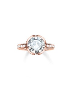 Solitaire Ring Signature Line White Pavé Large 925 Sterling Silver, 18k Rose Gold Plating