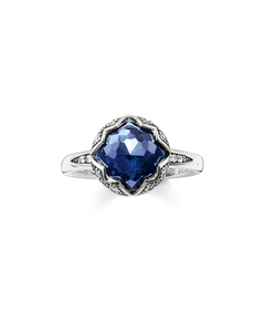 Solitaire Ring Dark Blue Lotos 925 Sterling Silver, Blackened