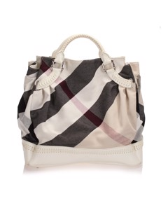 Burberry Mega Check Canvas Tote Bag White