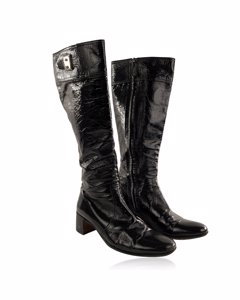 Hermes Black Patent Leather Boots Shoes Size 36