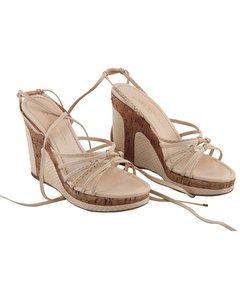 Louis Vuitton Beige Snakeskin Leather Wedge Shoes Cork Platform Size 36.5
