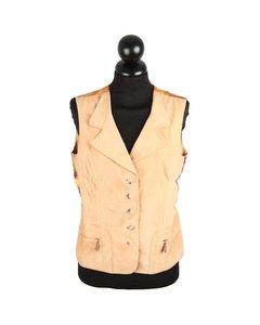 Hermes Paris Beige Suede Vest Gilet Waistcoat Silk Panel Passiflora