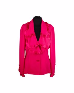 Valentino Fuchsia Silky Blazer Jacket With Ruffles