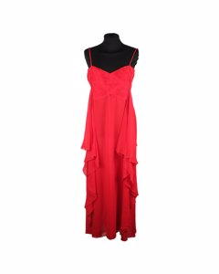 Valentino Red Silk Evening Maxi Dress Gown With Frills Size 8