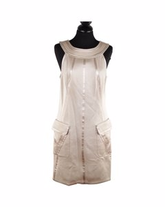 Versace Beige Halter Shift Dress 2006 Fall Collection Size 42