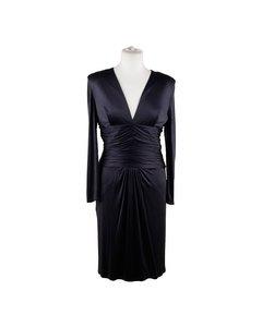 Versace Blue Viscose And Silk V Neck Dress Long Sleeve Size 42