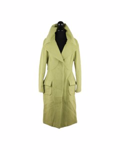 Versace Lime Green Wool Blend Coat Wide Lapels 2005 Fall Collection Size 40