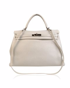 Hermes White Leather Handbag Mod: Kelly 35