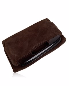 Bottega Veneta Vintage Brown Suede Clutch Bag Mod: Foding Clutch