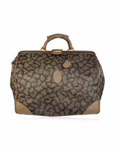 Yves Saint Laurent Vintage Tan Spotted Canvas Weekender Travel Bag
