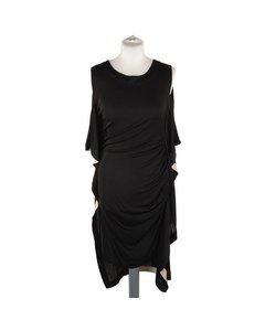 Vionnet Black Silky Sleeveless Dress Knee Lenght With Frills