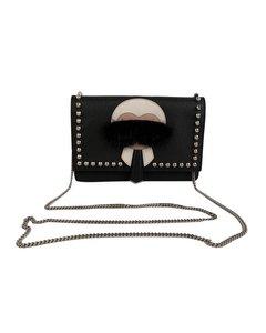 Fendi Black Leather Karlito Clutch Bag Wallet On Chain Woc