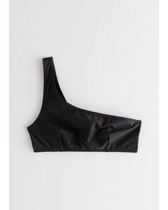 Asymmetric Strap Bikini Top Black
