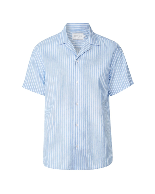 Les Deux Upc Luke Linen Ss Shirt Light Blue Stripe