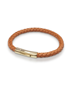 Leather Bracelet Gold Cognac
