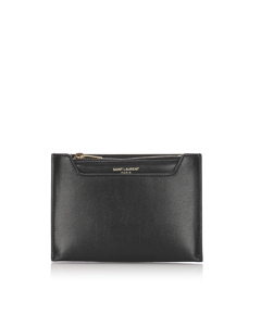 Ysl Leather Coin Pouch Black