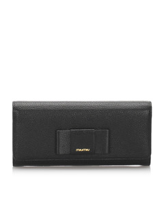 Miu Miu Leather Long Wallet Black
