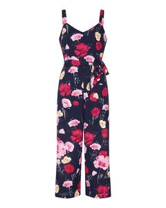 Poppy Print Culotte Jumpsuit Navy