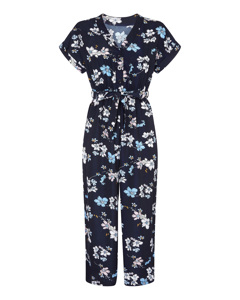 Animated Floral Jumpsuit Navy