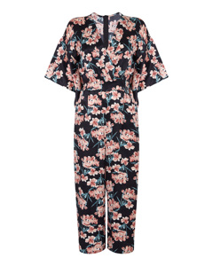 Satin Floral Jumpsuit Multi