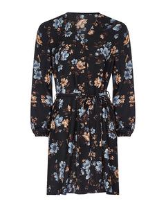 Fabric Tie Printed Shirt Dress Black