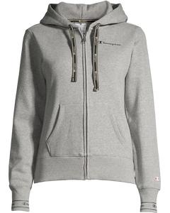 Hooded Full Zip Sweatshirt Gray Melange Light