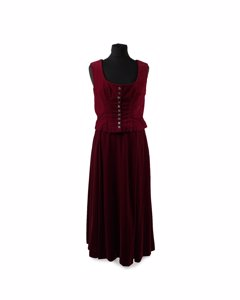 Aspesi Red Velvet Vest And Long Skirt Set Size 42