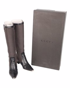 Gucci Taupe Leather Heeled Boots Modell: Knee Hight Boots