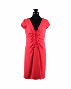 Valentino Red Silky V Neck Sheath Dress With Ruches