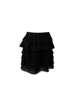 Isabel Marant Black Blair Metallic Fil Coupé Tiered Ruffle Skirt Size 38