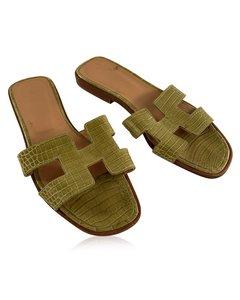 Hermes Green Crocodile Oran Flat Slide Sandals Size 36