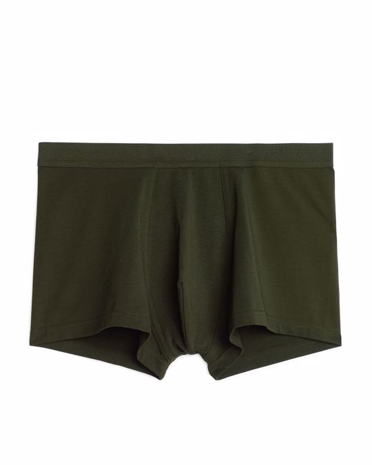 Arket Pima Cotton Trunks Khaki Green