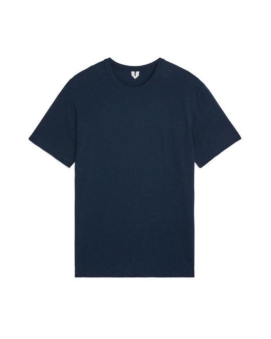 Arket Baumwoll-Leinen-T-Shirt Blau