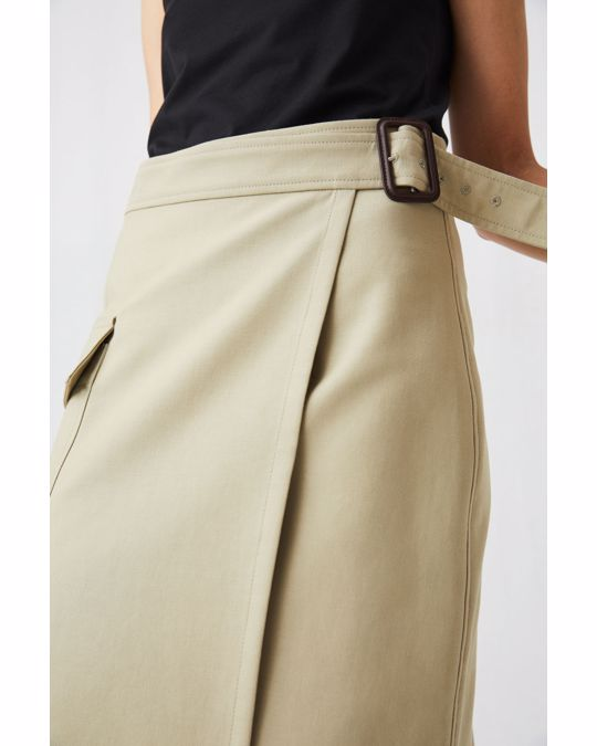 Arket Cotton Wool Wrap Skirt Beige