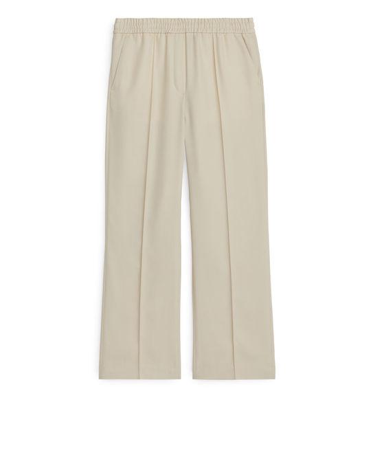 Arket Elastic Waist Twill Trousers Light Beige