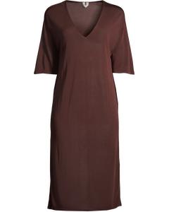 Sheer Knit Dress Brown