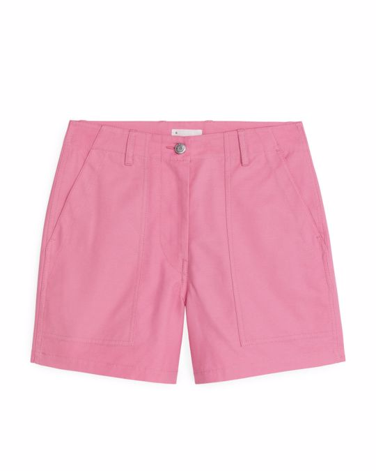 Arket Cotton Twill Workwear Shorts Pink
